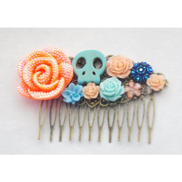 Skull Hair Clip Sugar Skull Hair Comb Day of the Dead Hair Clip... ($37) ❤ liked on Polyvore featuring accessories, hair accessories, decorative combs, silver, hair clip accessories, barrette hair clips, flower hair clips, rose hair accessories and turquoise hair comb