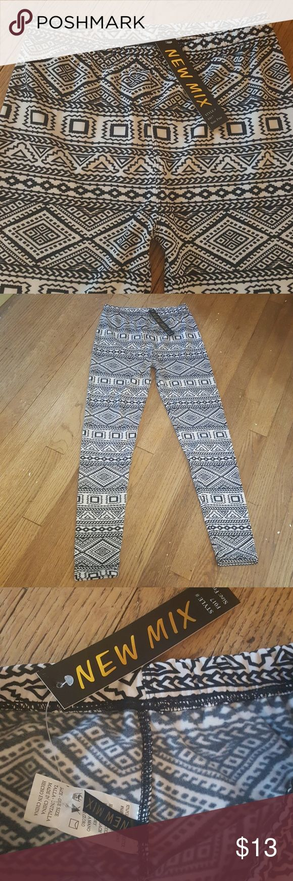 NWT black and white Aztec print leggings Super soft leggings sold by Three Bird Nest that say they are one size but I would say they are small because I normally wear a medium but couldn't get these over my backside. They have a silky feeling on the outside and very soft fleece on the inside, but they have really no stretch at all. Three Bird Nest Pants Leggings
