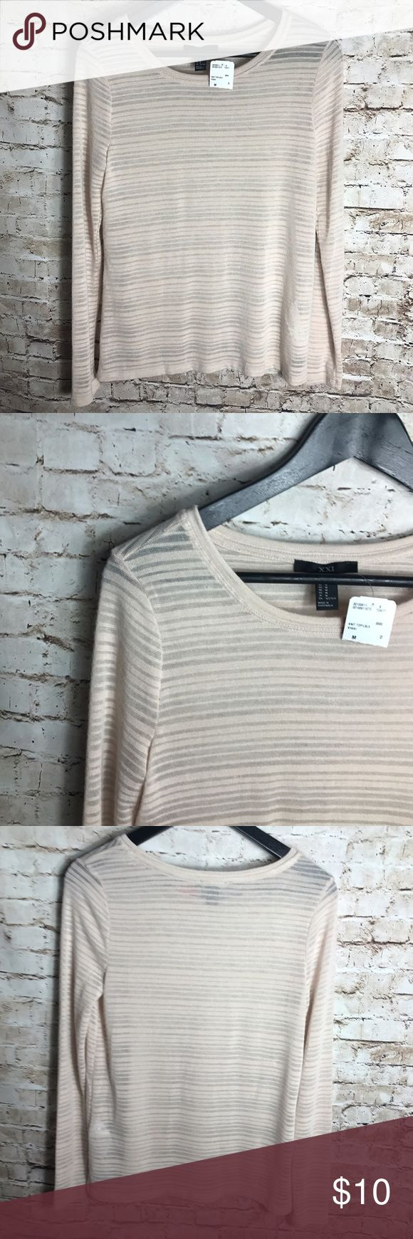 """✨Forever 21 beige long sleeve top✨ Forever 21 womens size M beige Log sleeve knit top  new with tag   Laying Flat from armpit to armpit 16"""" Laying flat full length 24"""" Forever 21 Tops Tees - Long Sleeve"""