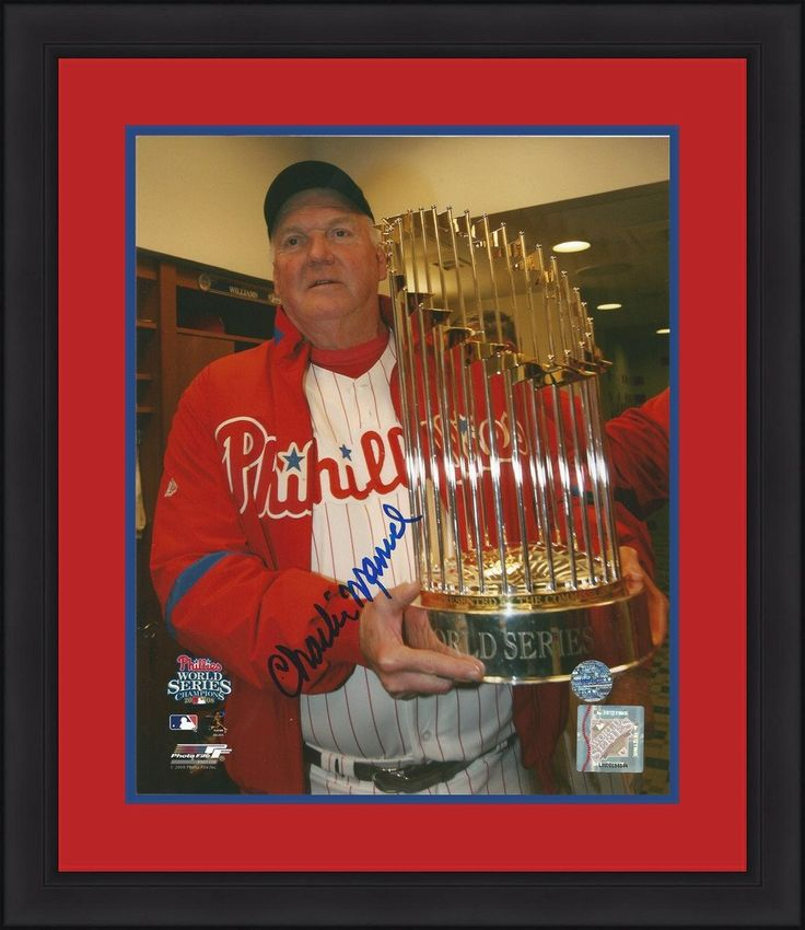 """Philadelphia Phillies Charlie Manuel 2008 World Series Trophy Autographed MLB Baseball 8"""" x 10"""" Framed and Matted Photo"""
