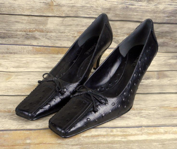 J Renee Shoes Heels Black Leather Ostrich Print Womens Size 13 W Wide Very Nice #JRenee #KittenHeels