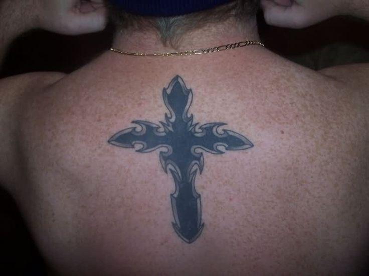 Solid Black Cross Tattoo On Left Wrist