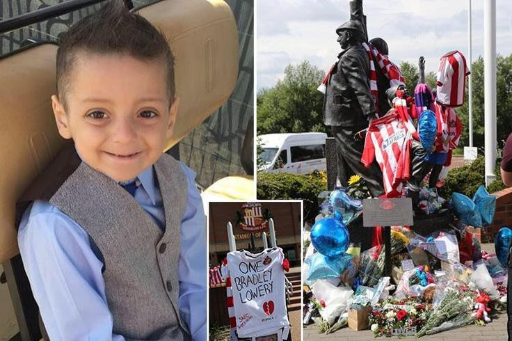 Flowers, balloons and footie shirts left outside Sunderland's Stadium of Light for Bradley Lowery