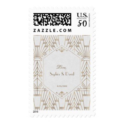 Royal Gold White Great Gatsby 1920s Wedding Postage - gold wedding gifts customize marriage diy unique golden