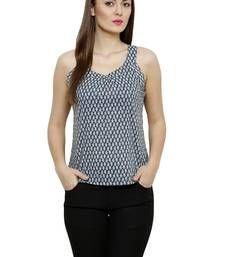 Buy Blue Cotton Printed Cotton tops top online