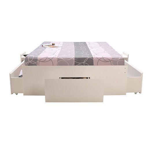 Lits - Lit 140 x 190 cm Pop 3 tiroirs et 2 chevets blanc