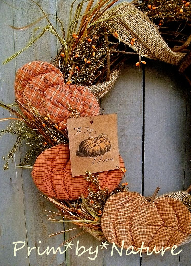 Primitive Wreath Fall Pumpkins Crow Doll Burlap Folk Art Autumn Prim Wreath