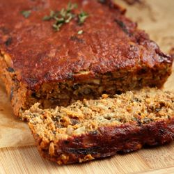 """Lentil """"Meat"""" Loaf (flax seeds, green lentils, mushrooms, spinach, fresh thyme, rolled oats, almond flour)"""