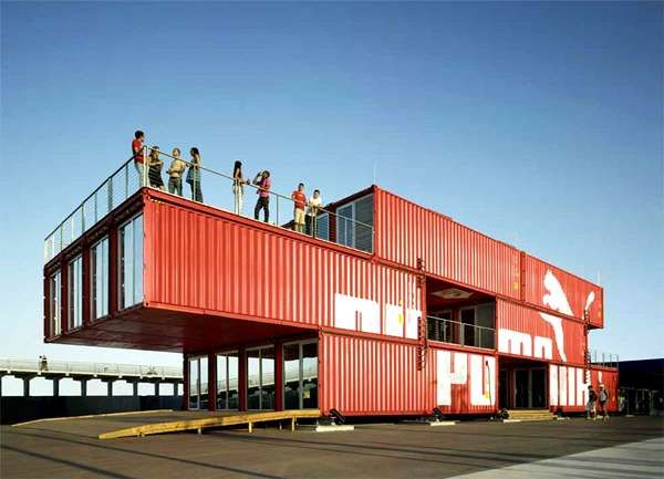 24 shipping containers have been morphed to create the Puma City event space. To travel, Puma City must be dismantled and transported on a special cargo ship. Its travels are set to take Puma City directly through the 2008 Volvo Ocean Race, a year-long event that began in Alicante, Spain in October.