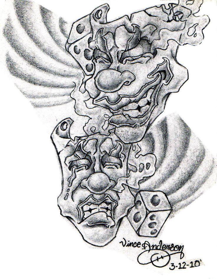 Female Drama Mask Tattoo Drama masks by hydrauliceye