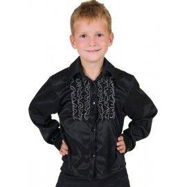 Deguisement chemise disco noire a ruches enfant