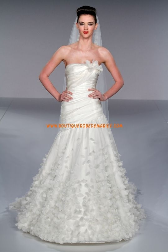 Robe de mariée de luxe organza applique de fleurs