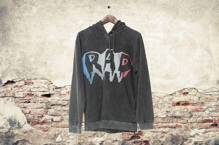 RAD HOODIE CHARCOAL Zuttion Men's #zuttionmens #washedout #vintagemens #mensclothing #mensfashion #ltdedition #fashiongraphics