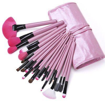 New 24 PCS Pro Cosmetic Brushes Eyeshadow Powder Makeup Brush Set Kit  Pink Bag