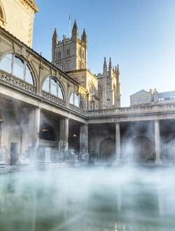 Great Bath and Bath Abbey, Bath, England