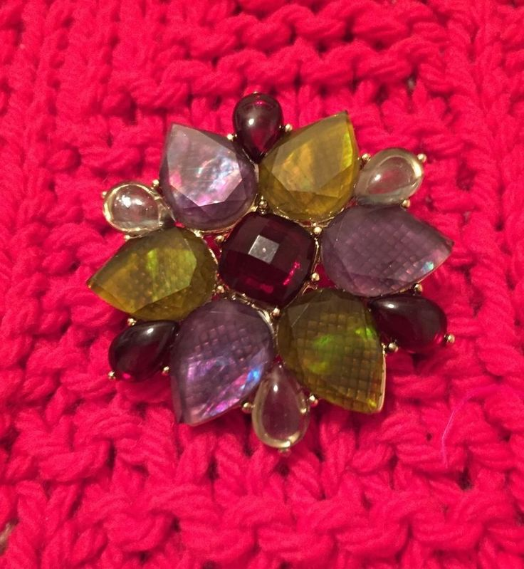 Liz Claiborne Signed LC Brooch Rhinestone Green Burgundy Lavender Mint Condition in Jewelry & Watches, Fashion Jewelry, Pins & Brooches | eBay