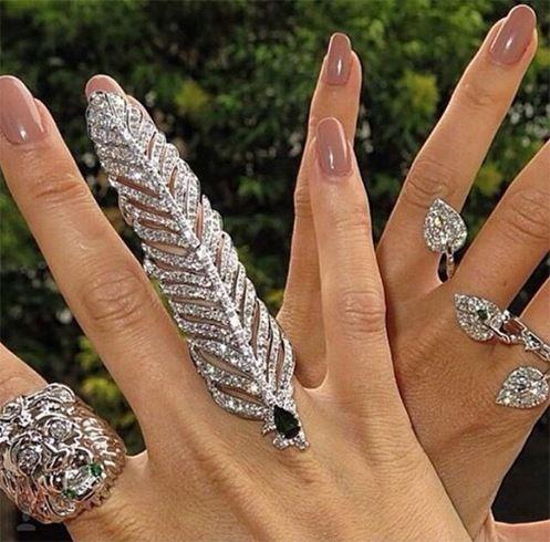 Diamond studded full finger rings