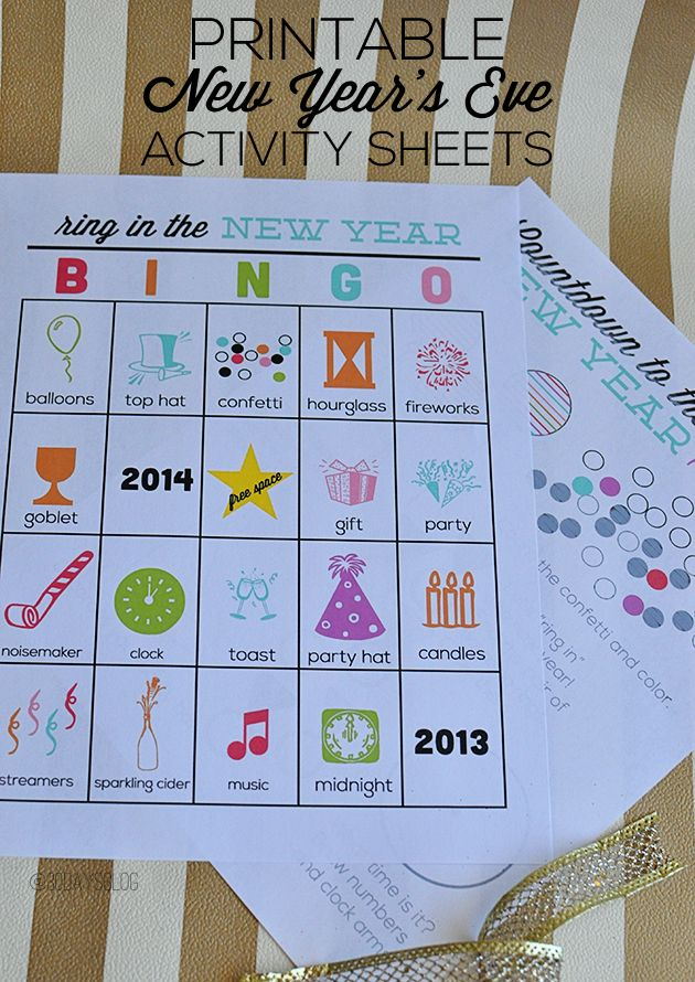 Printable New Years Eve Activity Sheets for Kids - fun to ring in the new year www.thirtyhandmadedays.com