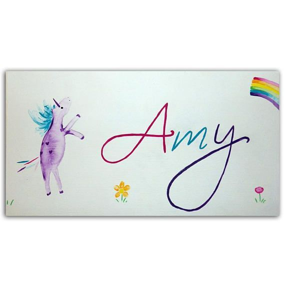 Personalized Unicorn Door Sign / Children's Personalised Plaque / Hand-Painted / Nursery Decor / New Baby