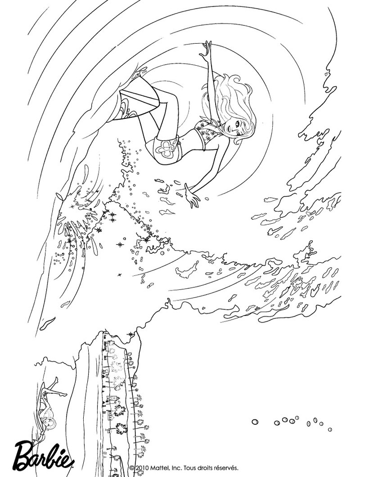 surfing barbie coloring pages - photo#12