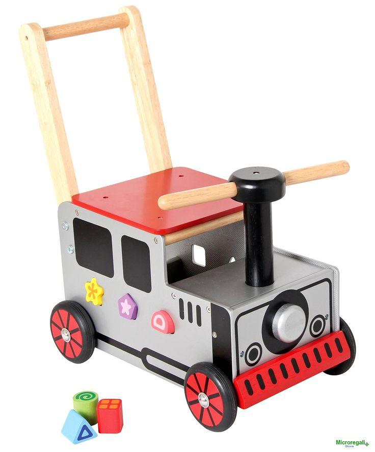 Carrellino Cavalcabile in Legno TRENO cm 36x24x42 per bambini. Primi Passi. Età 12 Mesi. I'm Toy - Tricicli, Primi Passi, Cavalli a Dondolo - Regali per i BAMBINI