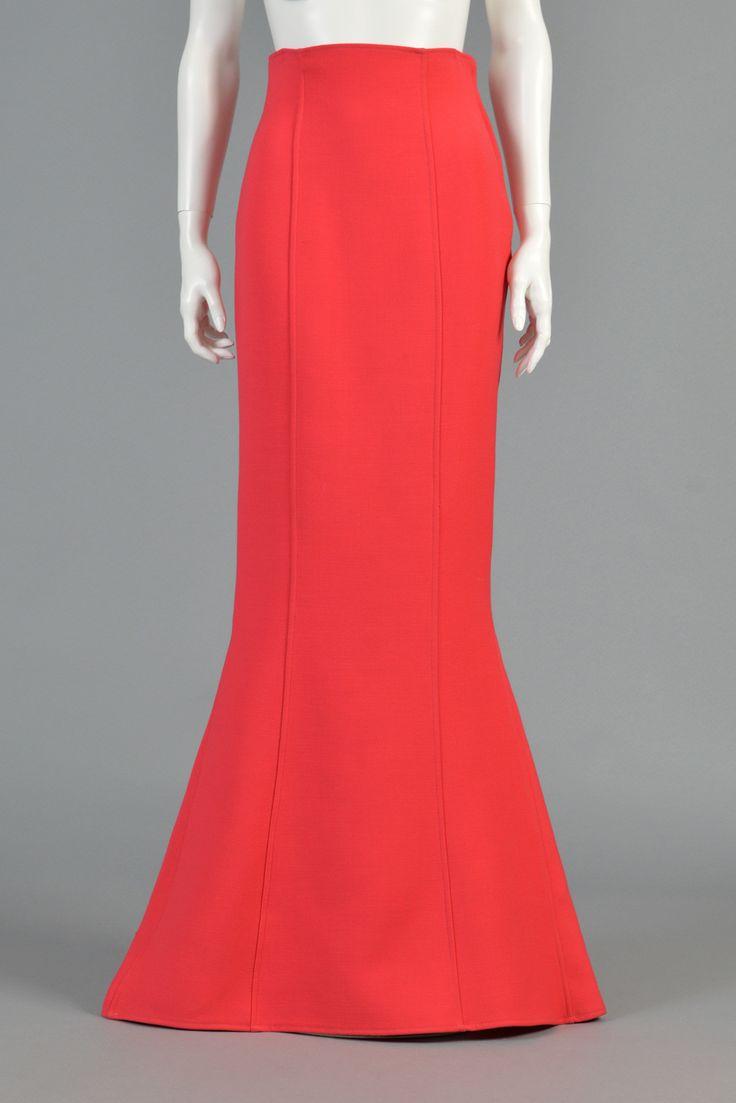 Calvin Klein 1990s Coral Wool Trumpet Skirt | BUSTOWN MODERN