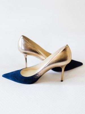 royal blue to gold ombre wedding shoes - photo by Rachel Havel Photography