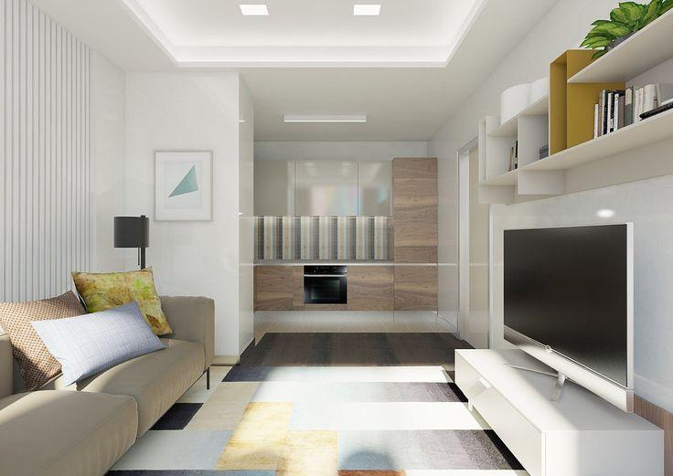 Современный дизайн квартиры в доме премиум класса ЖК Люмьер. В интерьере кухни-гостиной преобладают светлые тона. Белые стены в квартире служат фоном для всех остальных природных цветов: охра, сиена, сепия, умбра, графит и уголь. Кухня ALNO представлена в двух отделках: натуральный шпон американского ореха и стекло цвета кашемир. Геометрический ковер сочетает в себе все цвета, представленные в интерьере комнаты.