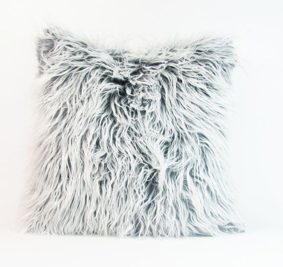 "White and Grey Fur Pillow Cover. Mongolian Faux Grey and White Fur Pillow. Fur Pillow. 16"",17"",18"",20"" 24"" 26"",Euro Sham or Lumbar Pillow."