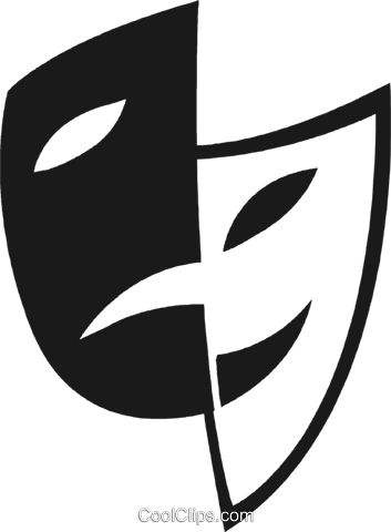 As máscaras da comédia / drama livre de direitos Vetores Clip Art ilustração vc028244