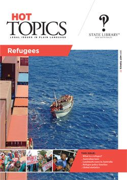 Australia is a signatory to the UN Convention Relating to the Status of Refugees. This Hot Topics issue looks at who is defined as a 'refugee', their legal status, and Australia's obligations under international law. Included are statistics, and sections on Australian laws and policies, case law and children in immigration detention. Hot Topics is published by the Legal Information Access Centre (LIAC), State Library of NSW - find out more at: http://www.legalanswers.sl.nsw.gov.au