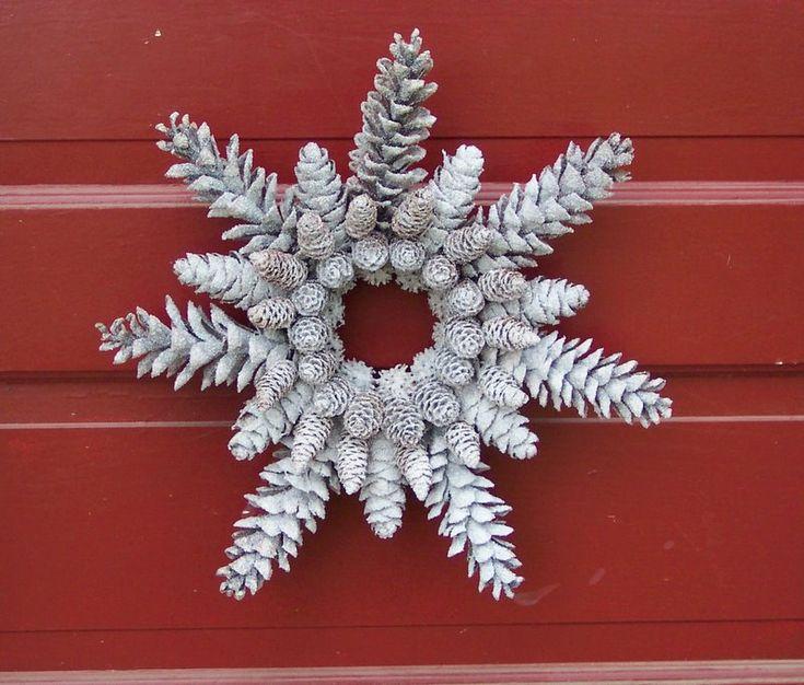 Glittered Pine Cone Wreath Snowflake Shape