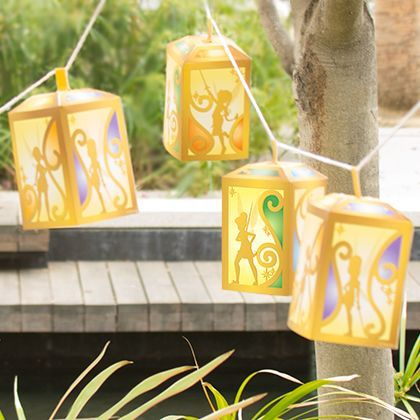 Light up the night in style with these easy-to-make printable lanterns inspired by Tink and her flitterific friends.