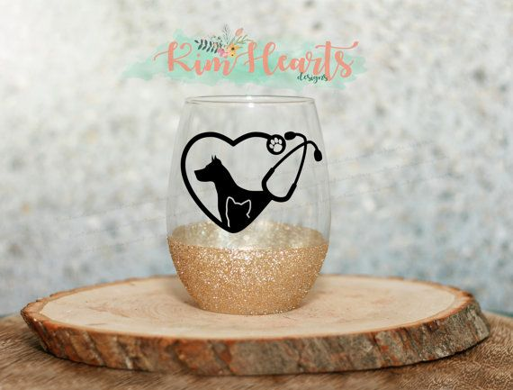 Veterinary glitter dipped wine glass 4 options Veterinarian wine glass Vet Tech Veterinary Technician animal doctor sparkly cup