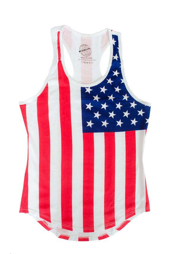 Drapeau américain Tank Top 4 juillet chemise par MyFitnessApparel