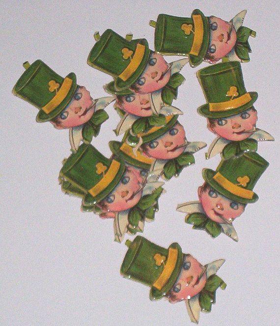 12 Old German made St Patrick's day leprechaun heads diecuts scraps crafts