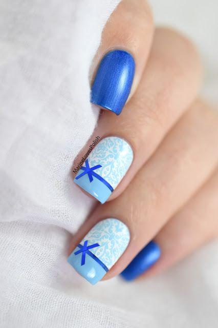 Marine Loves Polish: Christmas Wrapping Paper Nail Art [VIDEO TUTORIAL] - Christmas gifts nails - striping tape & stamping