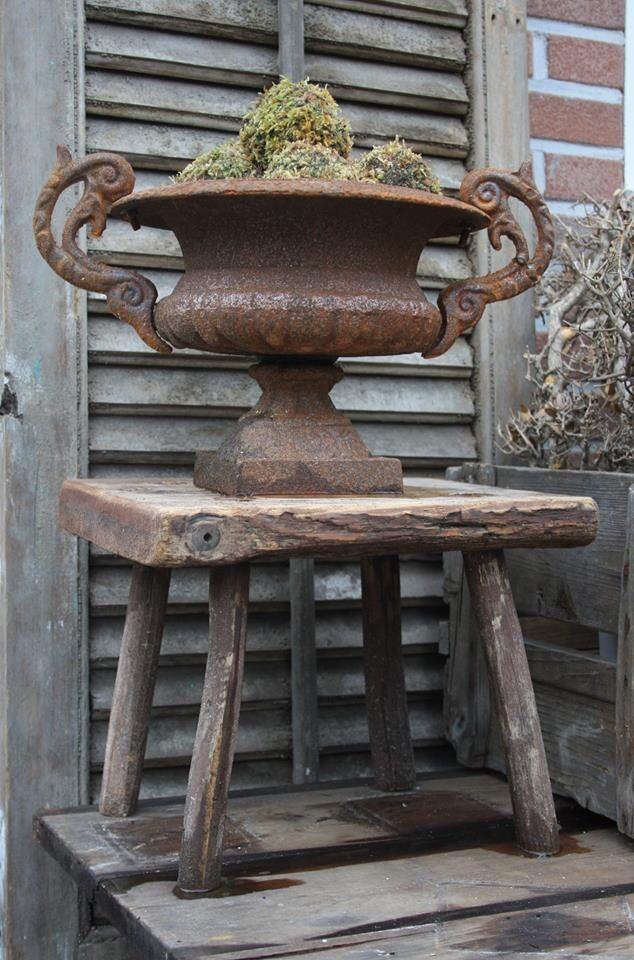 Cast iron garden urn.