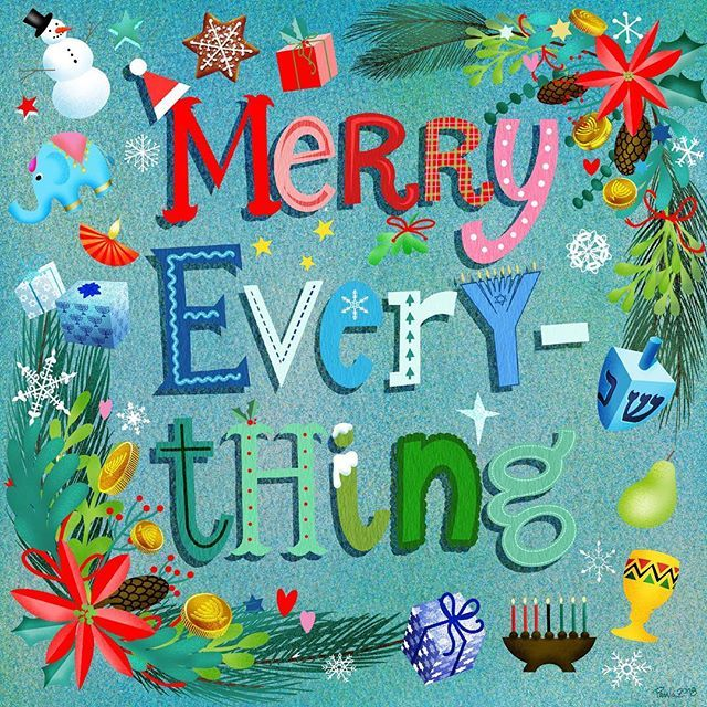 No matter what winter holidays you and your family celebrate or have celebrated this year I wish you joy safety and prosperity  #merryeverything #winterholidays #merrychristmas #happyhanukkah #happykwanzaa #happydiwali #holidaycards #happyholidays #peaceandlove #peaceandjoy #illustratorsoninstagram #holidayillustration