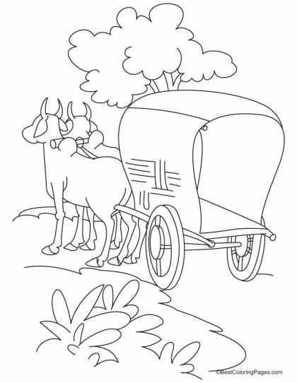 Bullock cart standing on the road coloring pages