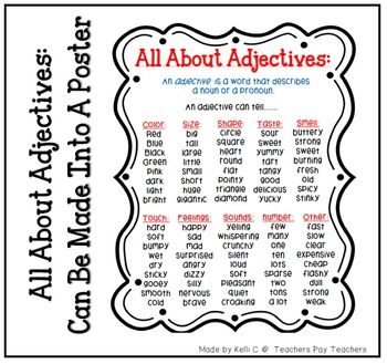 List of Adjectives Page for Writing Binder or Poster for C