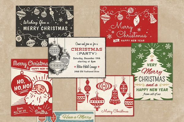 Retro Christmas Cards vol.2 by DISTRICT 62 STUDIO on Creative Market