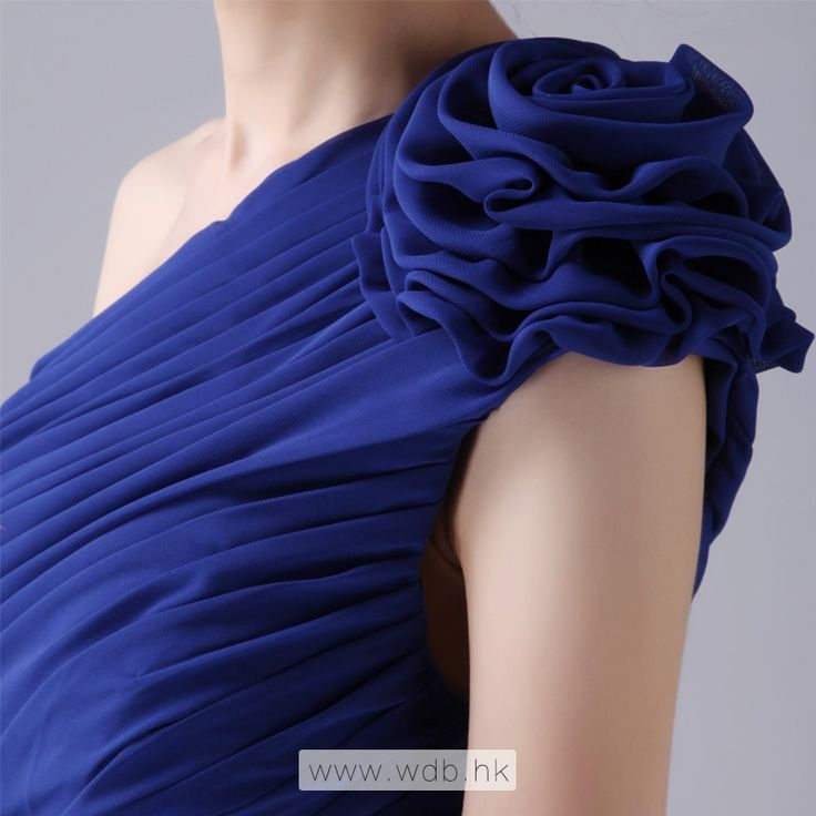 """""""With hand made flower decorate one shoulder pleated chiffon bridesmaid dress $103.78"""""""