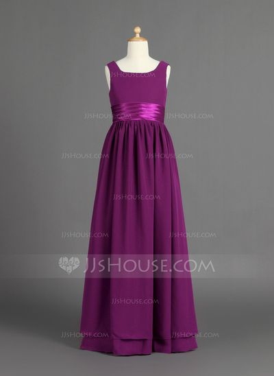 Junior Bridesmaid Dresses - $127.99 - A-Line/Princess Scoop Neck Floor-Length Chiffon Charmeuse Junior Bridesmaid Dress With Ruffle (009022481) http://jjshouse.com/A-Line-Princess-Scoop-Neck-Floor-Length-Chiffon-Charmeuse-Junior-Bridesmaid-Dress-With-Ruffle-009022481-g22481