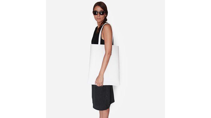 Saba white leather Shopper bag.  Handmade in Italy.