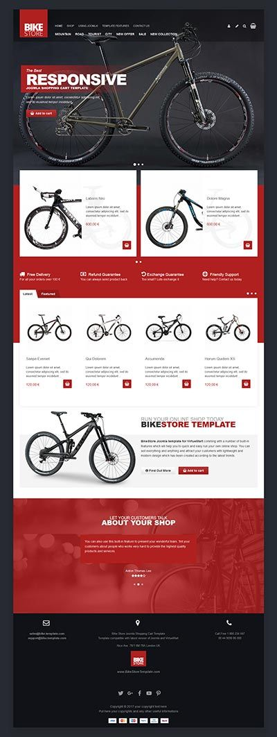 he bike store Joomla template is designed for cyclists, bikers, and people who want to create an awesome, mobile friendly bicycle accessories ecommerce store.