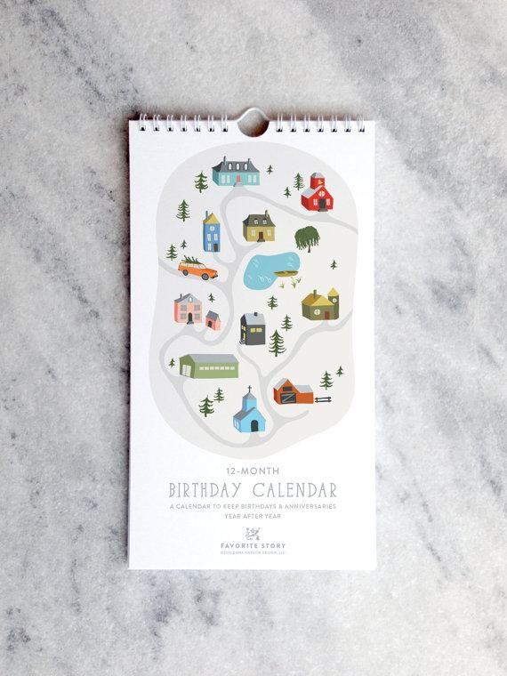Perpetual Birthday Calendar | Village Illustrations | Small Town