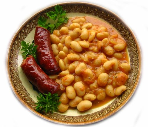 Home made sausages and beans