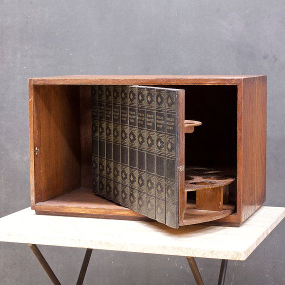 Vintage Prohibition Box Hidden Swivel Liquor Cabinet