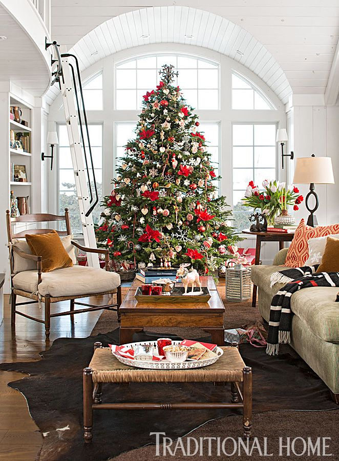 Living Rooms Decorated With Larrge Round Coffee Tables: This Scotch Pine Goes In The Living Room Of A 1940s Stone